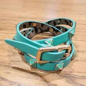 Betsey Johnson Teal / Gold Studded Belt sz M